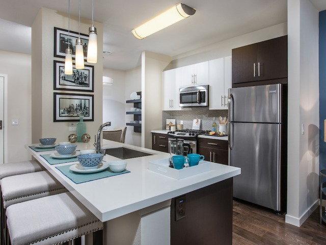 Gourmet kitchens with stainless steel appliances, gas cooking and oversized deep sinks