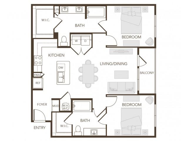 Alys Crossing Apartments- B2 Floor Plan