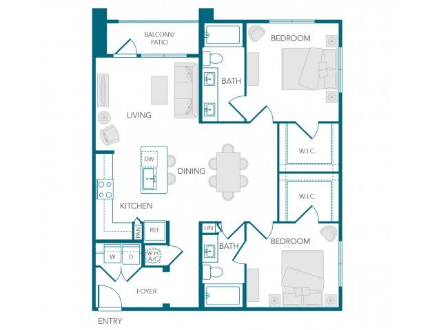 Stone Loch Apartments- B1C Floor Plan