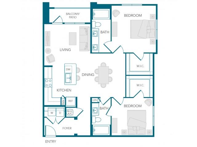 Stone Loch Apartments- B1D Floor Plan