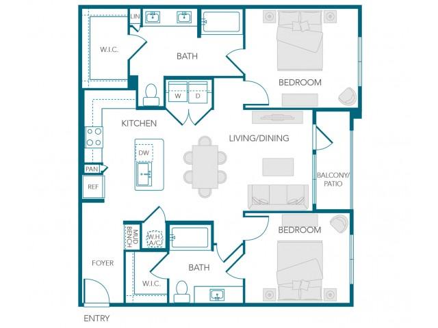 Stone Loch Apartments- B2D Floor Plan
