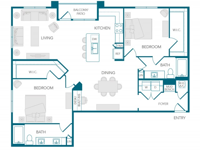 Stone Loch Apartments- B3 Floor Plan