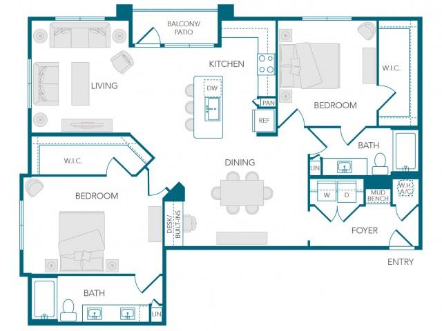Stone Loch Apartments- B3A Floor Plan