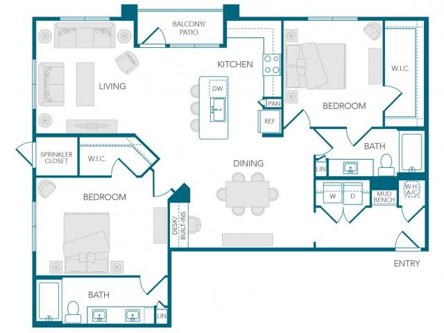 Stone Loch Apartments- B3B Floor Plan