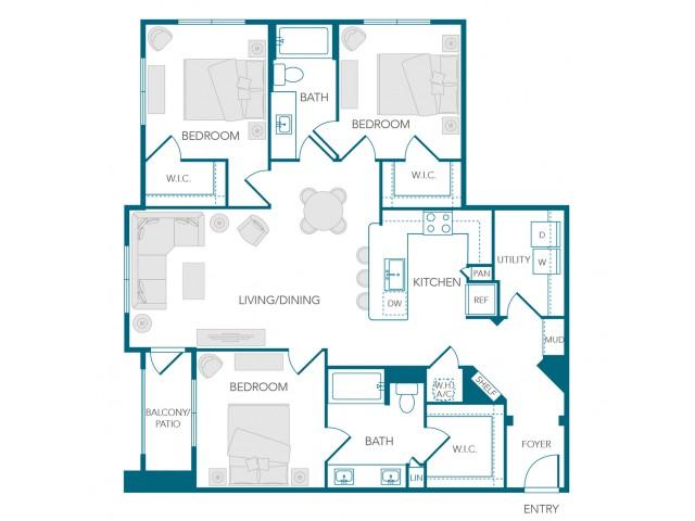 Stone Loch Apartments- C1A Floor Plan