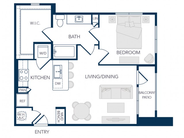 The Rosemary Apartments- A0B Floor Plan