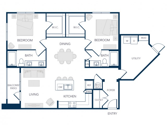 The Rosemary Apartments- B1B Floor Plan