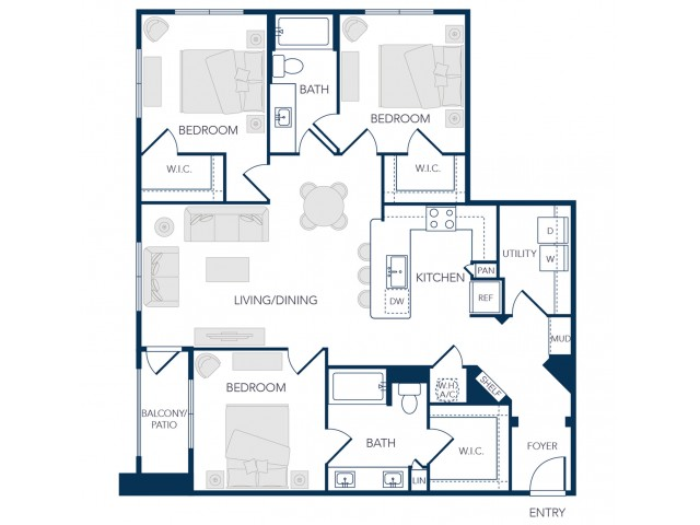 The Rosemary Apartments- C1 Floor Plan