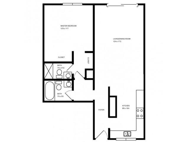 2X2 floorplan with dimensions