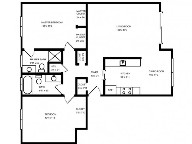 Two Bedroom Two Bath 1,125 square feet.