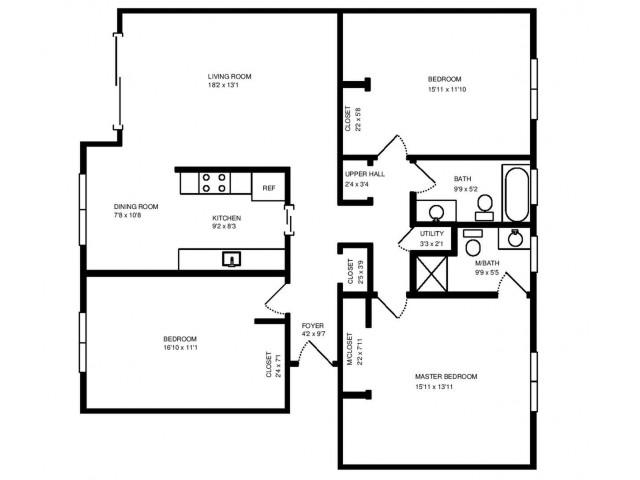 Three Bedroom Two Bath 1,400 square feet.
