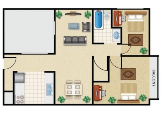 2x1 w/balcony