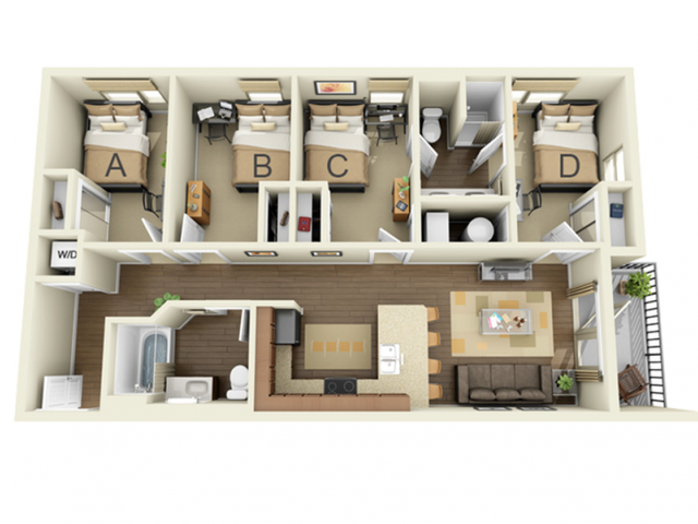 4 Bedroom 2 Bath B
