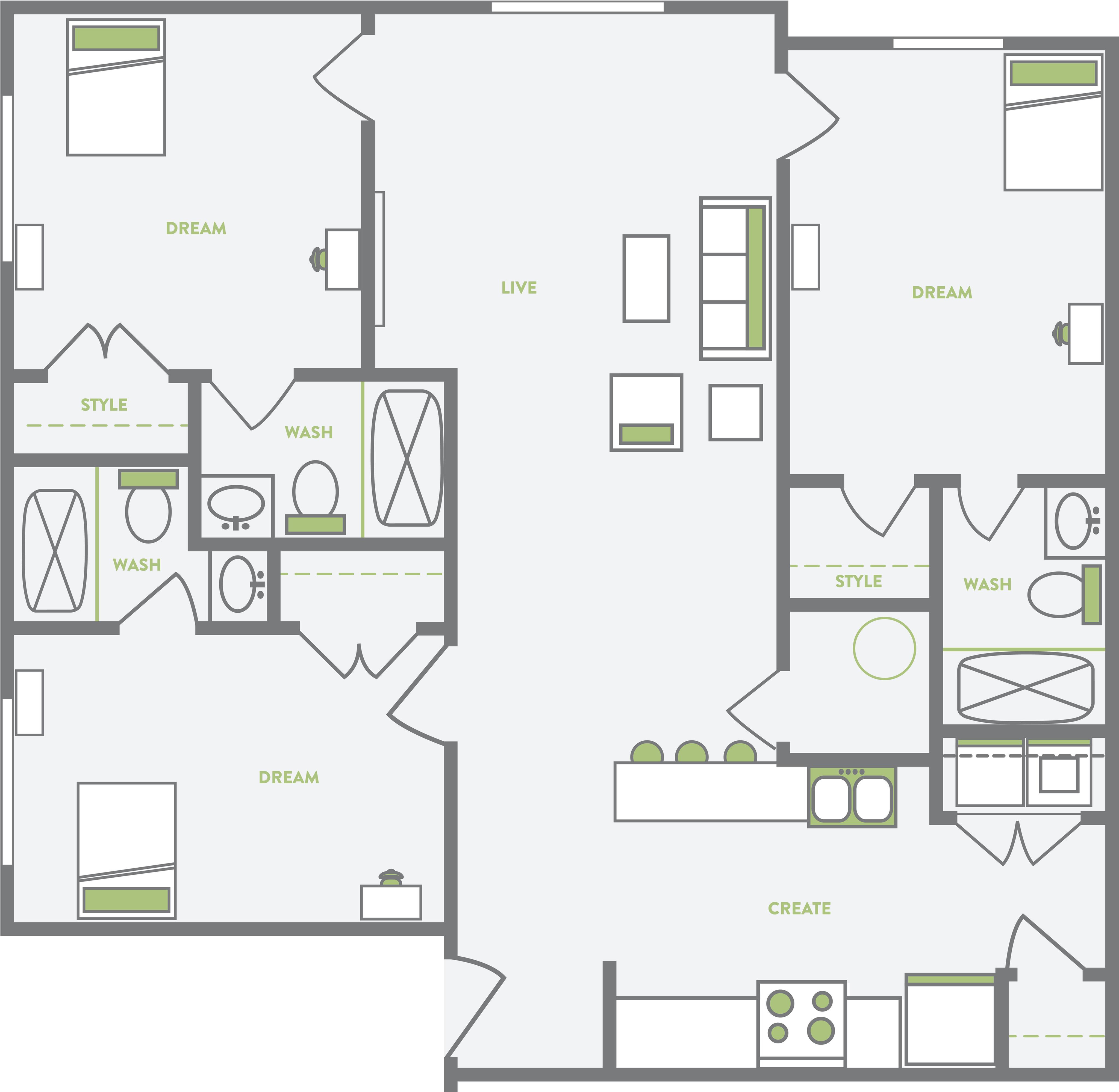 Spring Garden Student Quarters 3 bedroom