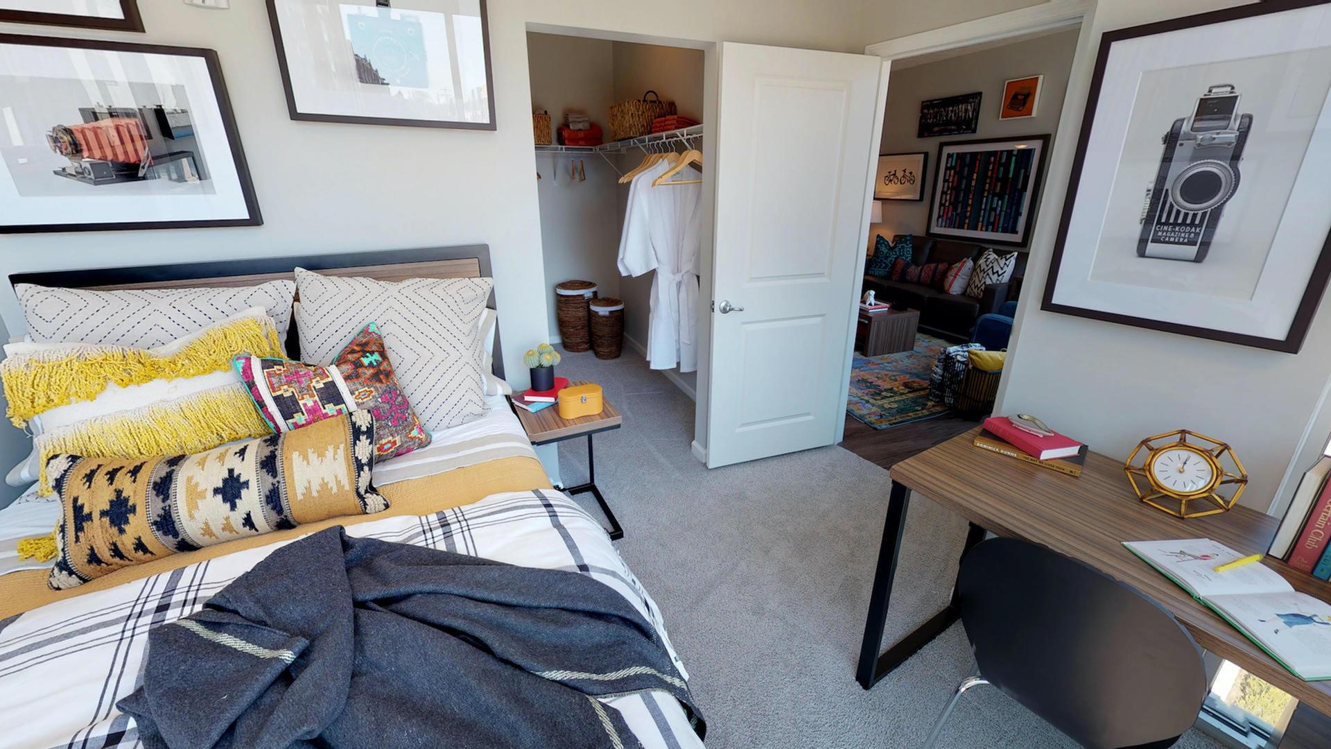 Image of Plush Carpet in Bedroom & Hardwood Style Flooring in Living Room & Kitchen for Luxe Belle- Student Living