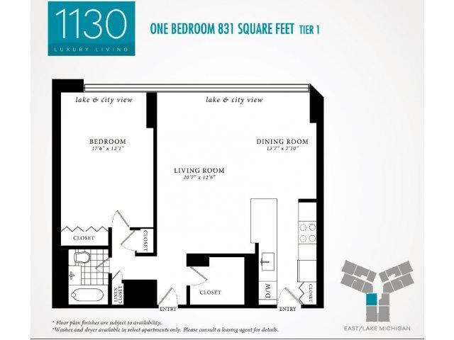1 Bedroom Floor Plan | 1130 South Michigan