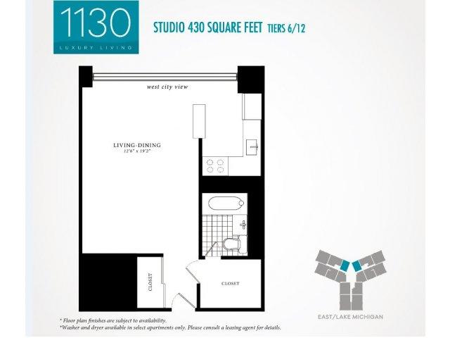 Studio Floor Plan | 1130 South Michigan