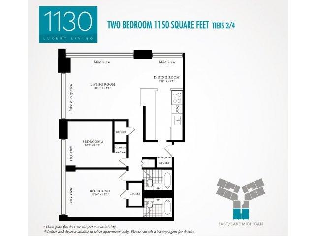 2 Bedroom Floor Plan | 1130 South Michigan