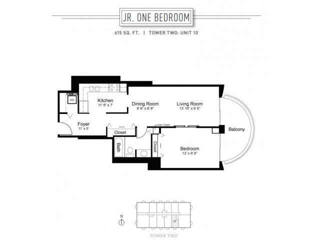 1 Bedroom Floor Plan | Wheaton Center 6