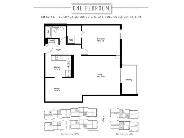 1 Bedroom Floor Plan | Wheaton Center 5