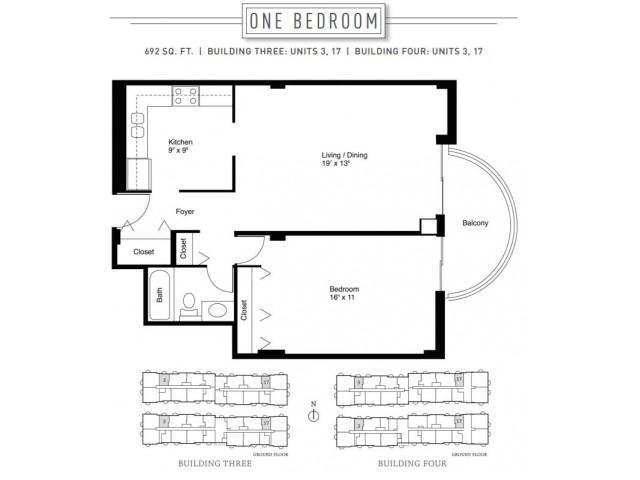 1 Bedroom Floor Plan | Wheaton Center 4