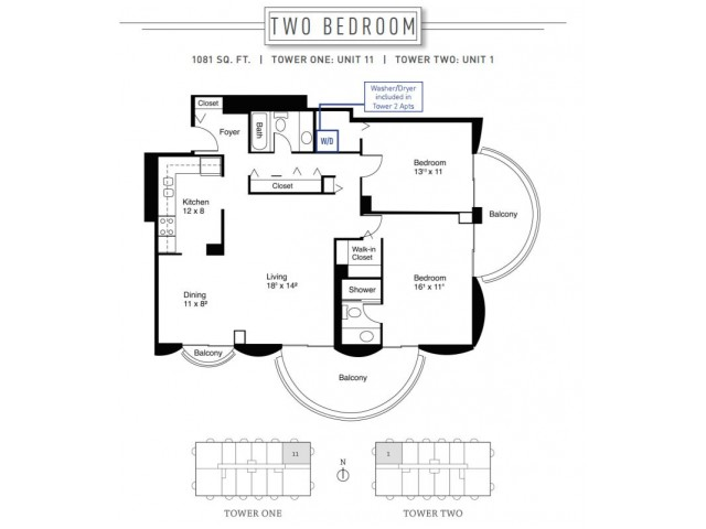 2 Bedroom Floor Plan | Wheaton Center 2