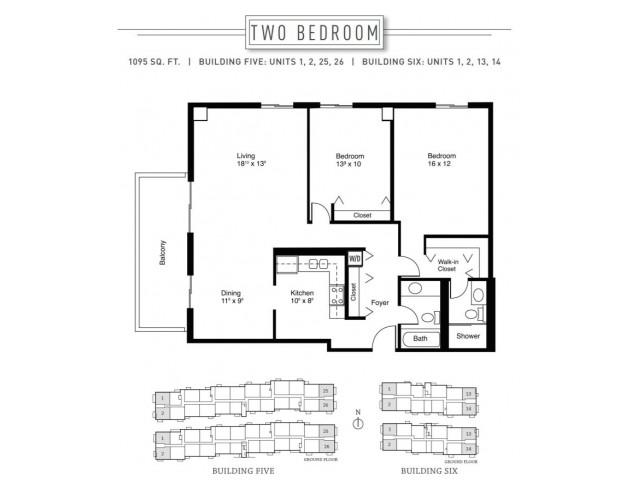 2 Bedroom Floor Plan | Wheaton Center 3