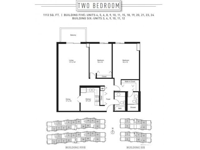 2 Bedroom Floor Plan | Wheaton Center 5
