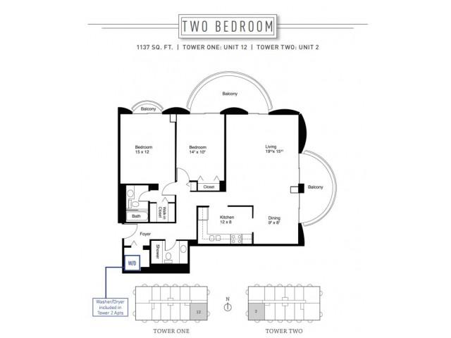 2 Bedroom Floor Plan | Wheaton Center 6