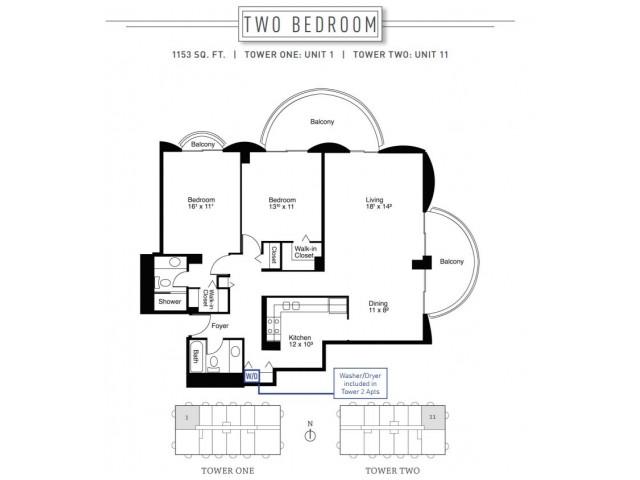 2 Bedroom Floor Plan | Wheaton Center 4