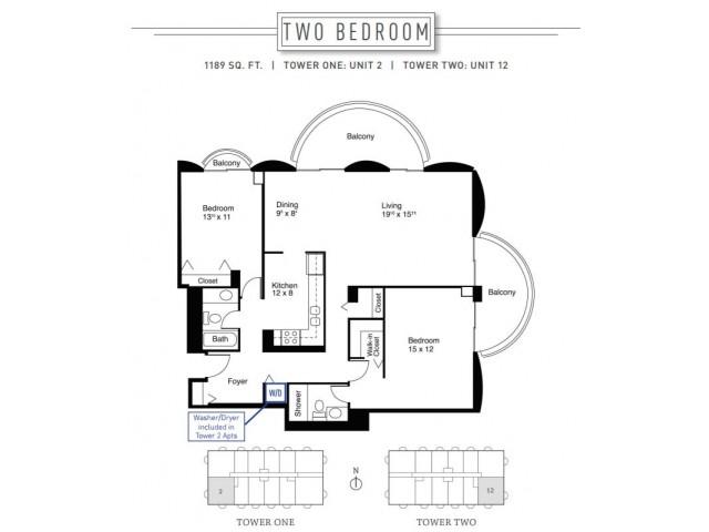 2 Bedroom Floor Plan | Wheaton Center