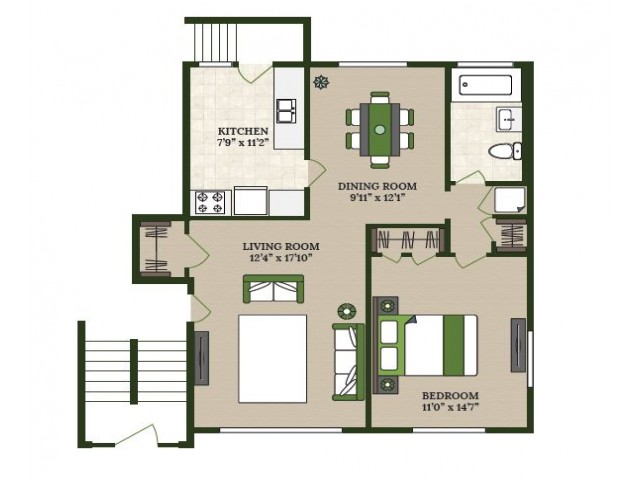 1 Bedroom Floor Plan | Apartments For Rent In La Grange Park IL | Homestead