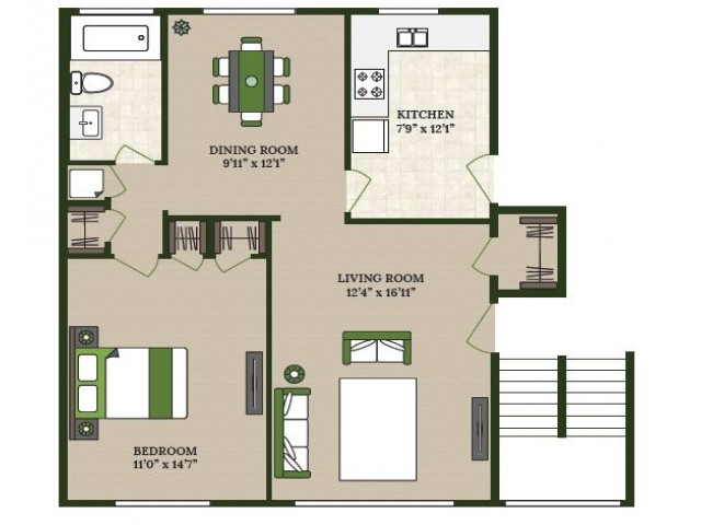 1 Bdrm Floor Plan | Apartments Near La Grange IL | Homestead