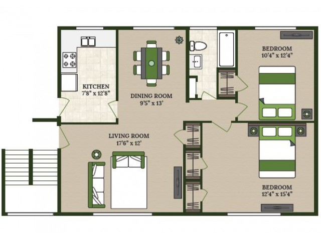 2 Bedroom Floor Plan | Apartments in La Grange Park | Homestead