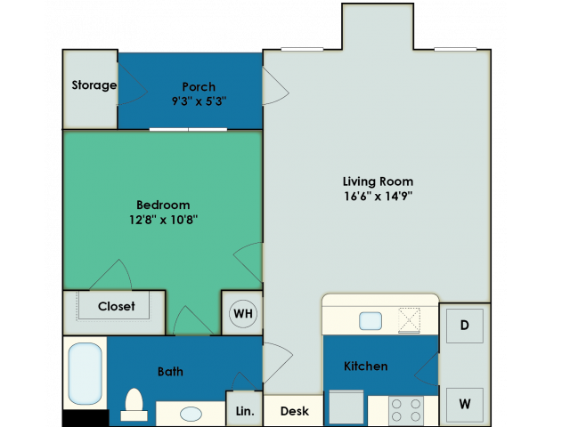 1 Bedroom Floor Plan | Apartments In San Antonio | The View at Encino Commons