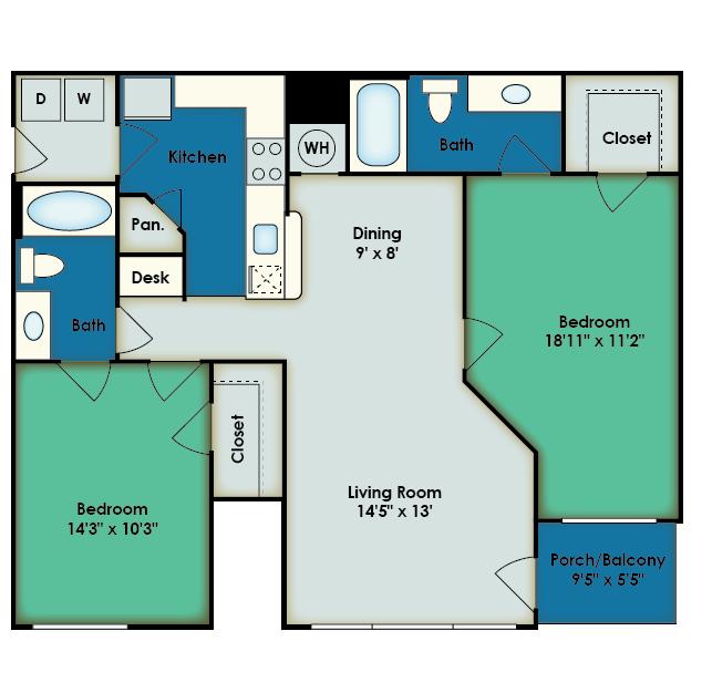 2 Bedroom Floor Plan | Apartments In San Antonio TX | The View at Encino Commons