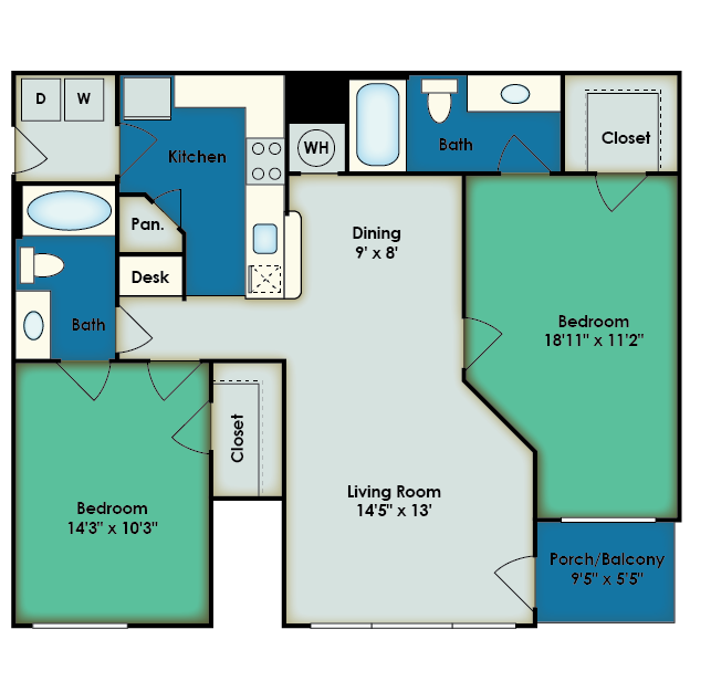 Floor Plan 2 bed | Apartments For Rent In San Antonio | The View at Encino Commons