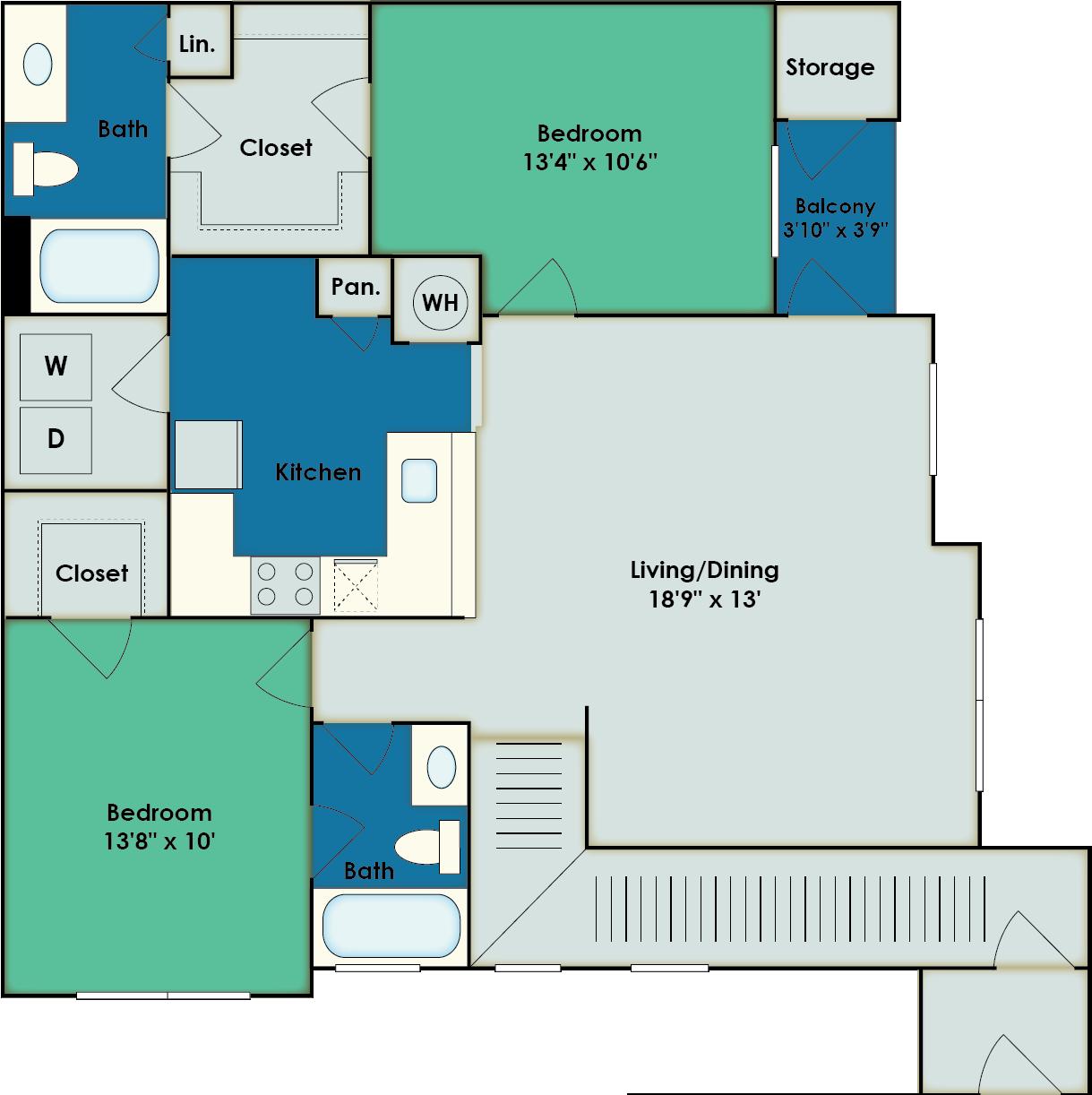 2 Bdrm Floor Plan | San Antonio Apartments | The View at Encino Commons