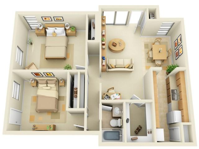 2 Bedroom 1 Bath Floorplan with Porch