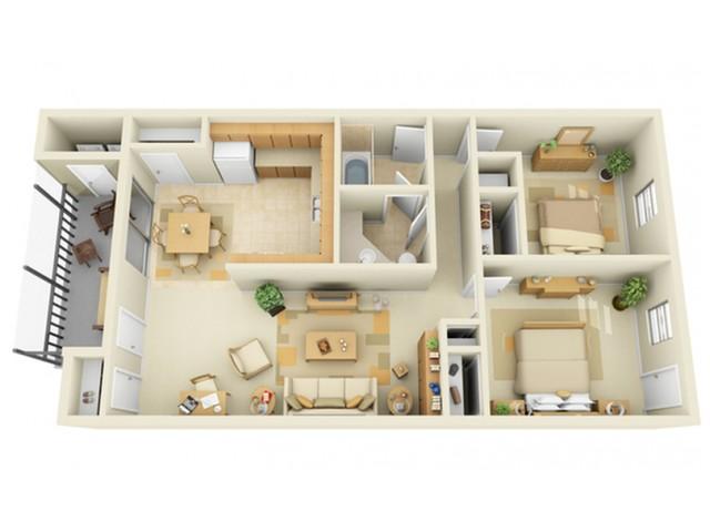 Large 2 Bedroom 1 Bath Floorplan