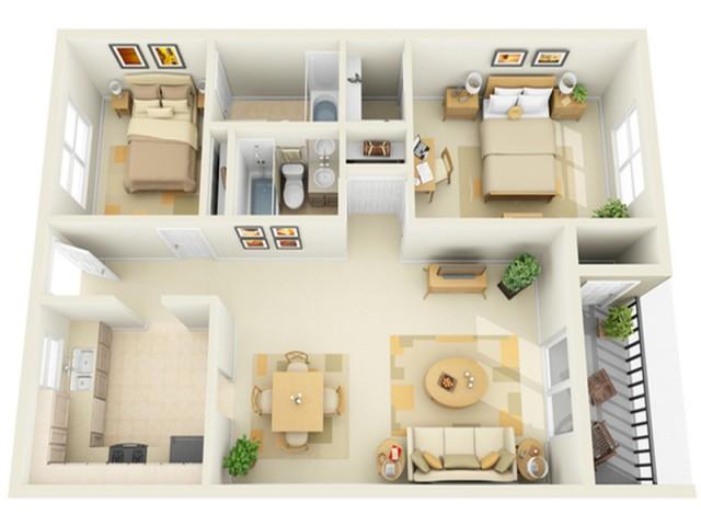 2 Bedroom 2 Bath Floorplan with Porch