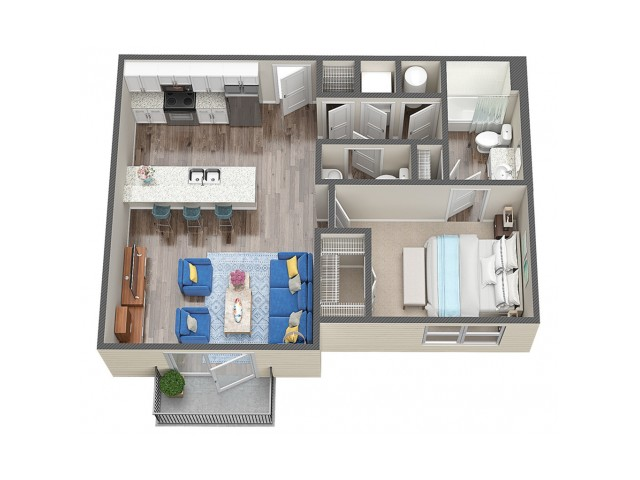 1 Bedroom 1.5 Bath
