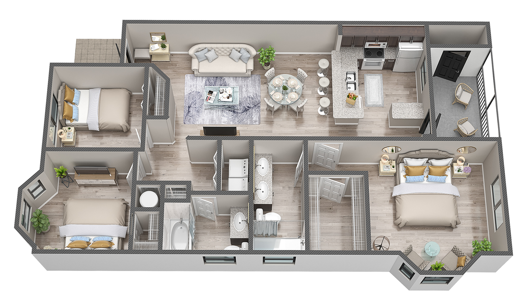 3 Bedroom 2 Bath Floorplan
