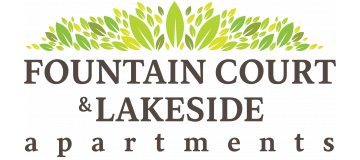 Fountain court and lakeside apartments logo.
