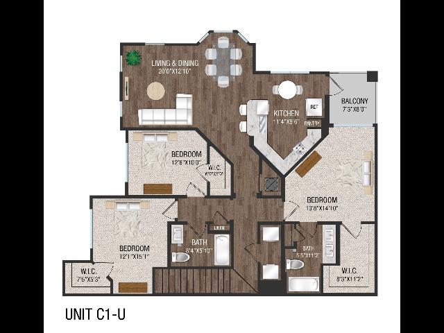 3 Bed 2 Bath - C1U
