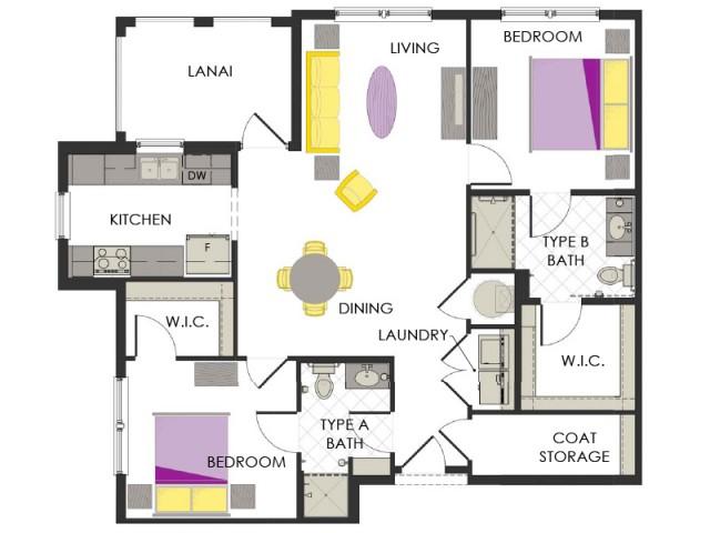 Arcadia Gardens, Palm Beach Gardens FL | Violet A floorplan