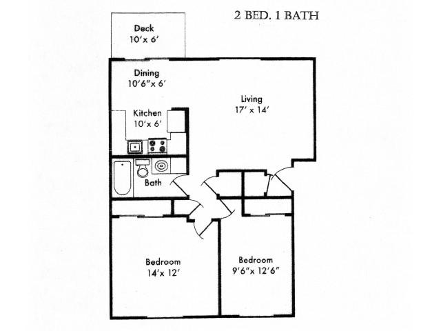 Two Bedroom, One Bath Floor Plan