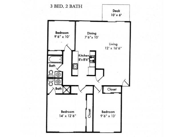Three Bedroom, Two Bath Floor Plan