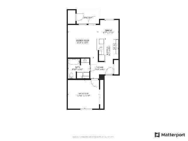 floor plan, 1x1
