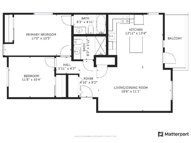 floor plan, 2x2, kitchen island
